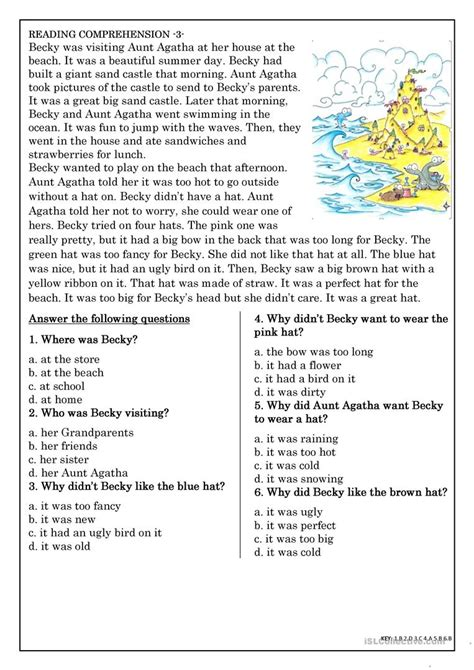 reading comprehension for beginner and elementary students 3 worksheet free esl printable