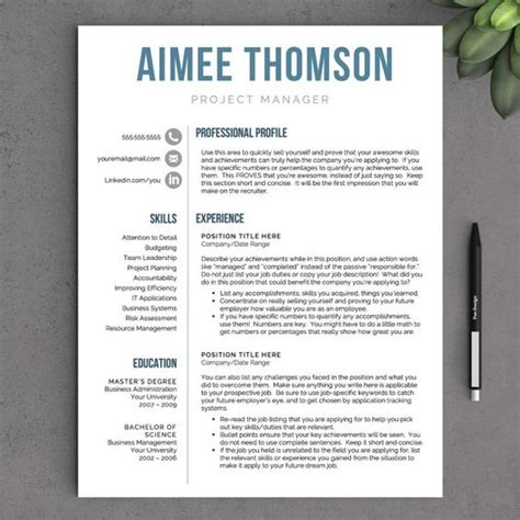 creative resume template for word pages 1 2 and 3