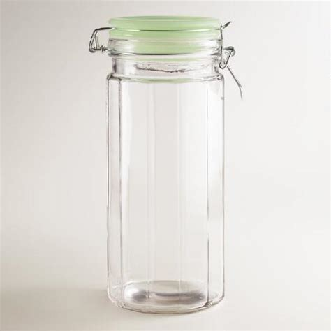 large glass jars with lids large glass cl jars with jadeite lids set of 4 world 8888