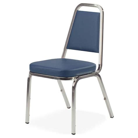 lorell blue vinyl upholstered stack chairs set of 4