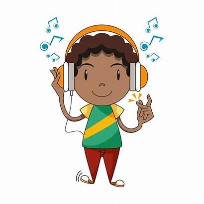 Vector Listening Clip Child Write Cartoon Headphones