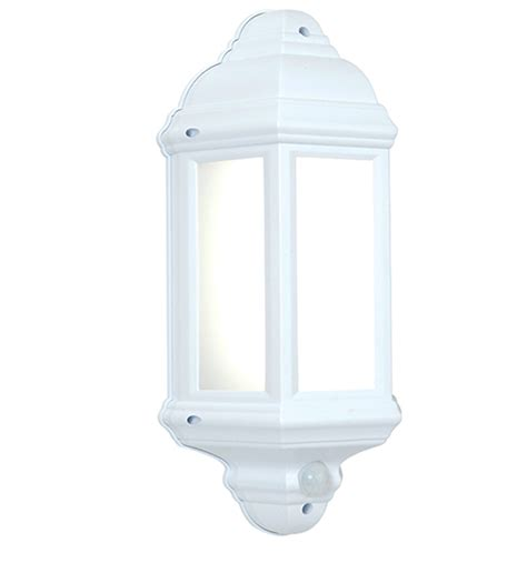 endon halbury pir led half lantern outdoor wall light matt white textured frosted