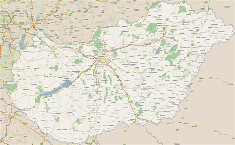 large road map  hungary  cities hungary europe