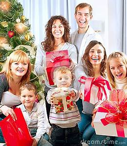 Big Family With Christmas Gifts Royalty Free Stock