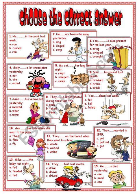 simple pastirregular verbs esl worksheet  el samreyah