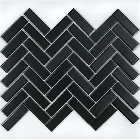 herringbone wall tiles herringbone black matt 31 8cm x 24 7cm wall floor mosaic 1609