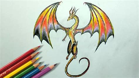 color pencil drawing   draw  dragon step  step