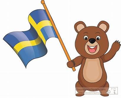 Flag Cartoon Sweden Holding Bear Clipart Europe