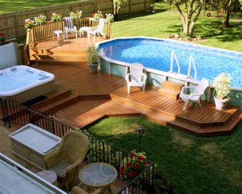 Pictures Of Wooden Above Ground Pool Decks by Tiered Composite Wooden Pool Deck For Above Ground Pool