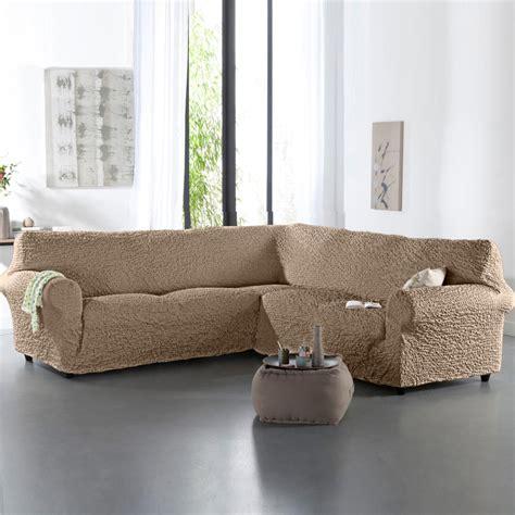 housse canapé d angle universelle housse gaufrée bi extensible canapé d 39 angle blancheporte