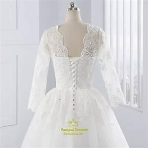White illusion lace sleeve v neck wedding dress with lace for Illusion sleeve wedding dress