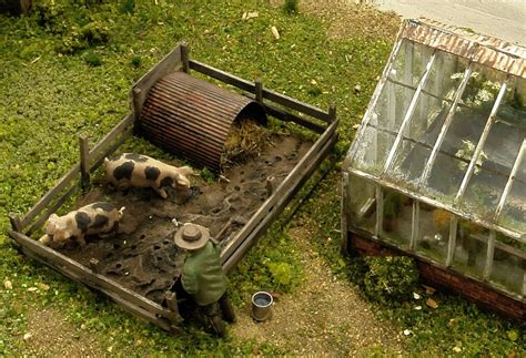 Sty S Garden - pig sty and greenhouse pigs miniature