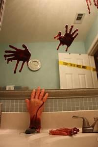 203 best halloween bathroom decor images on pinterest With crime scene bathroom decor