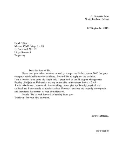 contoh application letter curriculum vitae bahasa inggris