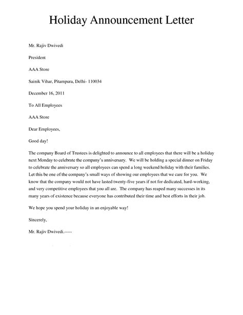 holiday announcement letter giving  letter  inform