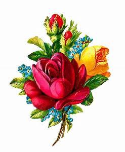 Antique Images: Digital Red Rose Clip Art Flower Download ...