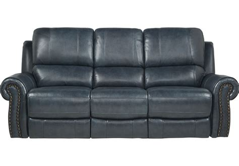 Frederickburg Blue Leather Reclining Sofa Reclining
