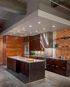 25 modern kitchens and interior brick wall design ideas for Kitchen cabinet trends 2018 combined with leroymerlin papier peint