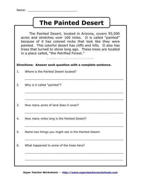 level 4 reading comprehension worksheets and prehension