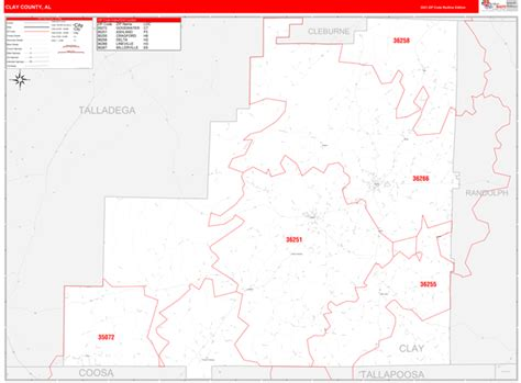 Clay County Al Zip Code Wall Map Red Line Style By Marketmaps