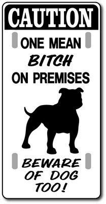 Pitbull Sign Mean On Premises Beware Of Dog Too