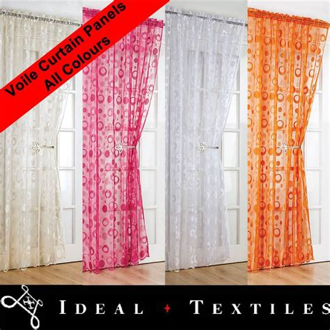 retro voile net curtain panels scalloped bottom low prices