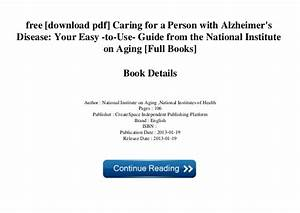 Caring For A Person With Alzheimers Disease Pdf