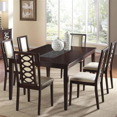 7 dining set with bench 7 dining table and chair set by cramco inc wolf