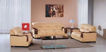 modern livingroom sets beige leather 3pc modern living room set w wooden armrests