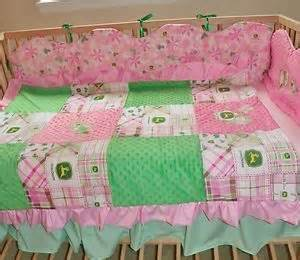 john deere baby infant girl pink green plaid crib nursery