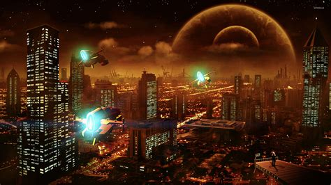 futuristic city wallpaper 1920x1080 wallpapersafari