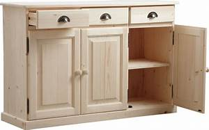 Meuble Bois Brut : buffet 3 portes 3 tiroirs en bois brut ~ Teatrodelosmanantiales.com Idées de Décoration
