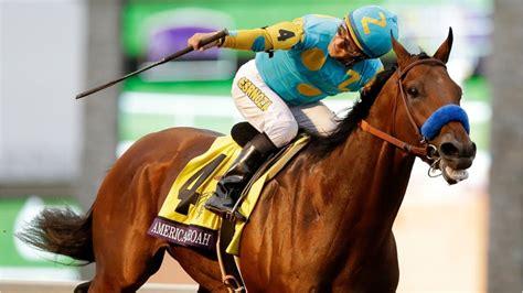 american race pharoah horse racing cup breeders classic winner racehorse wins crown triple goes track ap keeneland horses saturday grand