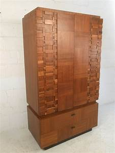 Mid Century Modern Brutalist Staccato Armoire By Lane At