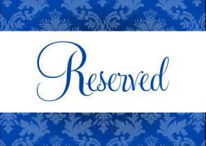 Reserved Table Sign Template