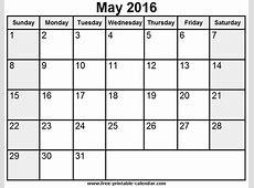 May 2016 Printable Calendar » Calendar Template 2018