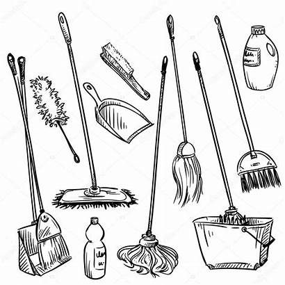 Cleaning Tools Mops Vector Illustration Clip Coloring
