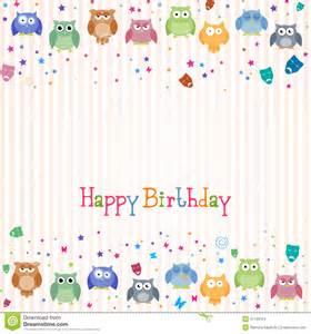Happy Birthday Owl Card Colorful