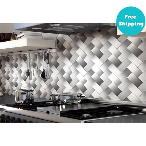 Metal Adhesive Backsplash Tiles by 32 Pcs Peel And Stick Kitchen Backsplash Adhesive Metal