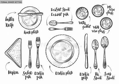 Table Setting Manners Captions Dinner Vector Rules