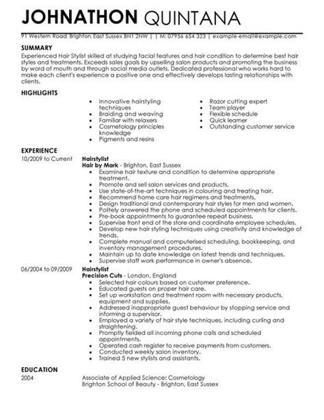 Beautician Cv Exle Doc by Hairstylist Cv Exle For Personal Services Livecareer