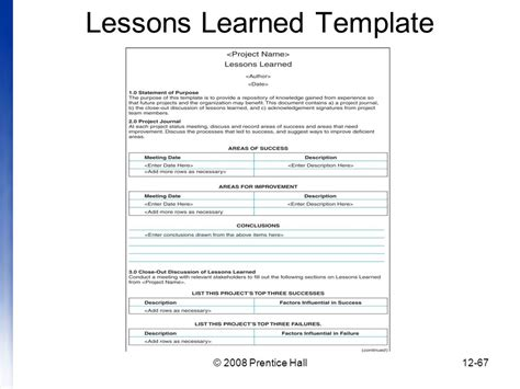 lessons learned template introduction to project management chapter 12 managing project and closure information