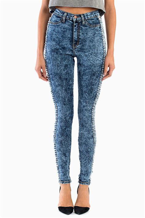 Dark Acid Wash Denim Jeans  Blue Jeans  High Waisted