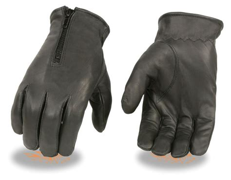Men's Unlined Zippered Leather Driving Glove Motorcycle Or