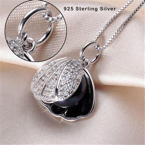 jual kalung perak asli dengan liontin mutiara air tawar asli clap mutiara asli black pearl