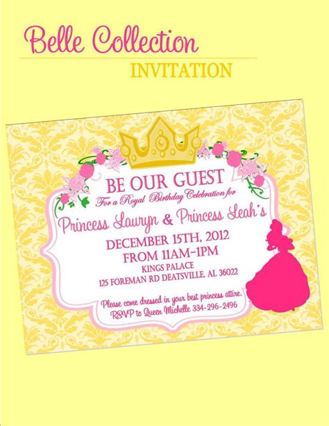 invitation beauty   beast inspired party parties