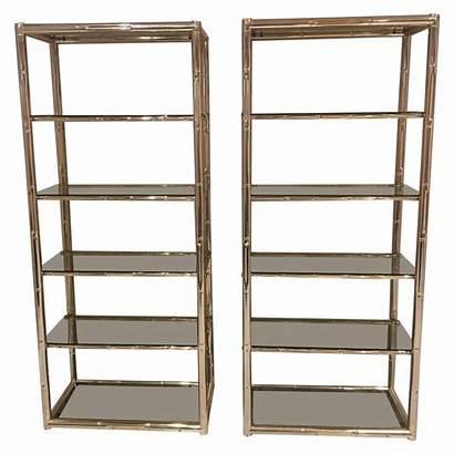 Display Shelves Etagere Brass Bamboo Glass Metal