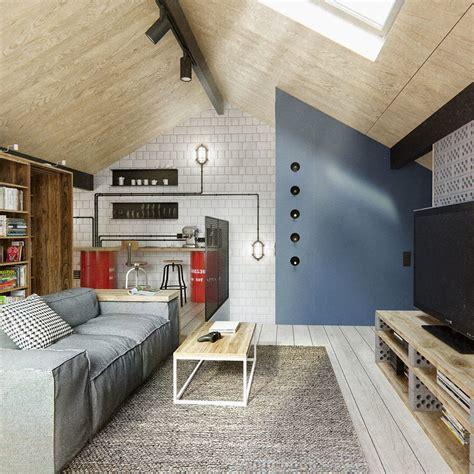images de chambre duplex penthouse with scandinavian aesthetics industrial