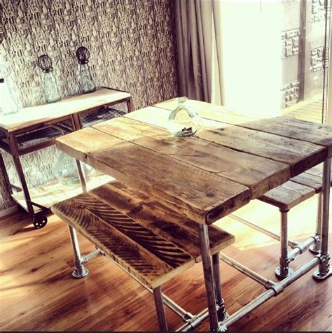 Small Kitchen Table With Bench And Chairs by Industrial Style Reclaimed Scaffold Small Dining Table And