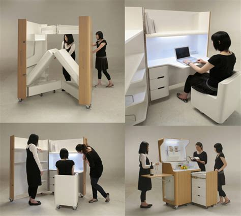 space saver desk chair kenchikukagu foldable rooms by toshihiko suzuki